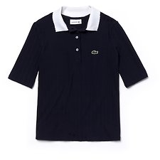 Image of Lacoste NAVY BLUE/WHITE KIDS' POLO WITH CONTRAST COLLAR