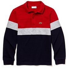 Image of Lacoste NAVY BLUE/PLUVIER CHINE-L KIDS' LONG SLEEVE COLOUR BLOCK POLO