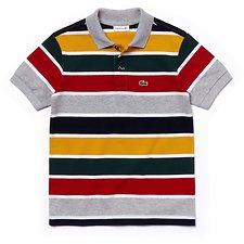Image of Lacoste PLUVIER CHINE/WHITE-LIGHT KIDS' MULTI STRIPE POLO