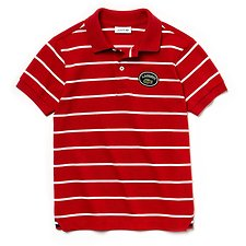 Image of Lacoste LIGHTHOUSE RED/FLOUR KIDS' STRIPE POLO