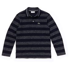 Image of Lacoste TWILIGHT BLUE MOULINE/NAV KIDS' LONG SLEEVE STRIPE POLO