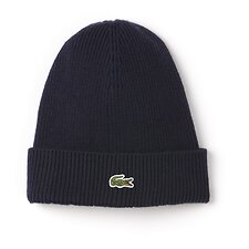 Image of Lacoste NAVY BLUE MEN'S UNISEX WOOL RIB BEANIE