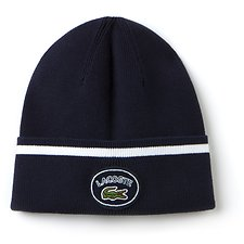 Image of Lacoste NAVY BLUE/WHITE MEN'S BADGE LOGO BEANIE