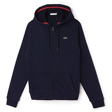 Image of Lacoste NAVY BLUE/GOJI RED WOMEN'S LACOSTE SPORT TENNIS HOODED SWEATSHIRT