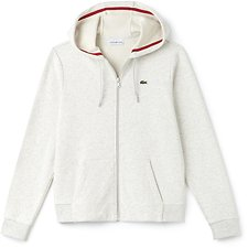 Image of Lacoste ALPES GREY CHINE/GOJI RED WOMEN'S LACOSTE SPORT TENNIS HOODED SWEATSHIRT