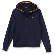 Image of Lacoste NAVY BLUE/APRICOT WOMEN'S LACOSTE SPORT ZIPPERED HOODIE