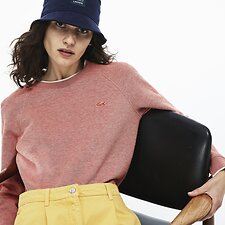 Image of Lacoste SALVIA/FLOUR WOMEN'S DOUBLE FACED CREW NECK SWEATER