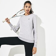 Image of Lacoste SILVER CHINE WOMEN'S BASIC CREW NECK SWEATSHIRT