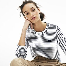 Image of Lacoste FLOUR/NAVY BLUE WOMEN'S CREW NECK STRIPE SWEATSHIRT