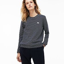 Image of Lacoste NAVY BLUE/FLOUR WOMEN'S CREW NECK STRIPE SWEAT