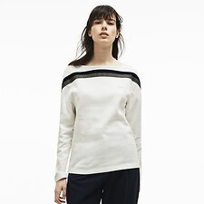 Image of Lacoste FLOUR/FLOUR-FLOUR WOMEN'S MADE IN FRANCE CONTRAST NECK SWEATSHIRT