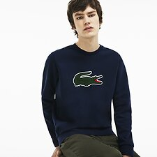 Image of Lacoste NAVY BLUE MEN'S BIG CROCODILE CREW NECK SWEATSHIRT