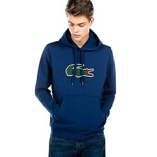 Image of Lacoste MATELOT CHINE MEN'S BIG CROCODILE HOODED PULLOVER