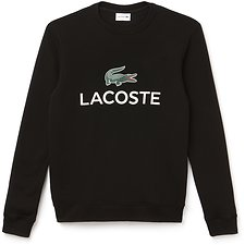 Image of Lacoste BLACK MEN'S CREW NECK LOGO SWEATSHIRT