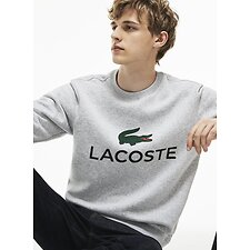 Image of Lacoste SILVER CHINE MEN'S CREW NECK LOGO SWEATSHIRT
