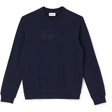 Image of Lacoste NAVY BLUE/MIDNIGHT BLUE CHINE MEN'S BIG CROC SWEAT