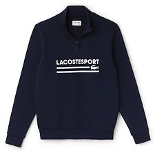 Image of Lacoste NAVY BLUE/WHITE MEN'S RETRO MOCK NECK SWEATSHIRT