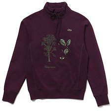 Image of Lacoste EGGPLANT UNISEX FASHION SHOW EMBROIDED FLEECE SWEATSHIRT