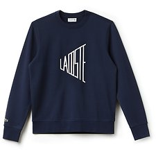 Image of Lacoste NAVY BLUE/FLOUR MEN'S GRAPHIC LOGO SWEAT