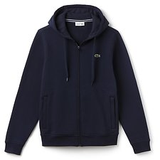 Image of Lacoste NAVY BLUE ZIP THROUGH HOODED SWEATSHIRT