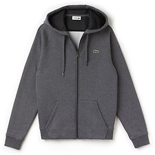 Image of Lacoste PITCH/BLACK MEN'S FULL ZIP SWEATSHIRT WITH LOGO HOOD