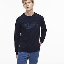 Image of Lacoste NAVY BLUE MEN'S CREW NECK RETRO STACK LOGO SWEATSHIRT