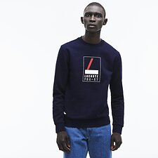 Image of Lacoste NAVY BLUE/WHITE MEN'S FRA 27 CREW NECK SWEATSHIRT
