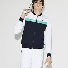 Image of Lacoste WHITE/NAVY BLUE-PAPEETE MEN'S COLOUR BLOCK TRACK JACKET