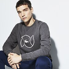 Image of Lacoste PITCH/WHITE MEN'S TENNIS BALL CREW NECK SWEATSHIRT
