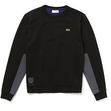 Image of Lacoste BLACK/GRAPHITE-SCILLE MEN'S CONTRAST PANEL CREW NECK SWEATSHIRT