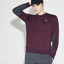 Image of Lacoste BLACKBERRY CHINE/GRAPHITE MEN'S CONTRAST PANEL CREW NECK SWEATSHIRT