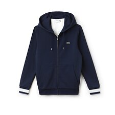Image of Lacoste NAVY BLUE/FLOUR MEN'S HOODIE WITH CONTRAST STRIPE
