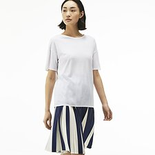 Image of Lacoste WHITE FLUID JERSEY SCOOP NECK TEE