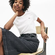 Image of Lacoste WHITE WOMEN'S CREW NECK SOLID TEE