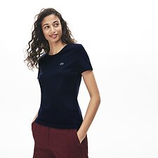 Image of Lacoste NAVY BLUE WOMEN'S CREW NECK SOLID TEE