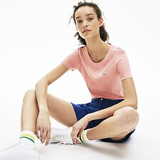 Image of Lacoste CEMBRA WOMEN'S CREW NECK SOLID TEE