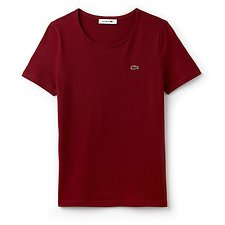 Image of Lacoste TURKEY RED WOMEN'S CREW NECK SOLID TEE
