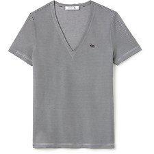 Image of Lacoste NAVY BLUE/VANILLA PLANT WOMEN'S V NECK STRIPE TEE