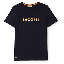 Image of Lacoste NAVY BLUE/APRICOT-BUTTERC WOMEN'S SPORT CREW NECK LOGO TEE