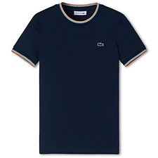 Image of Lacoste NAVY BLUE WOMEN'S WIDE NECK TEE WITH CONTRAST TRIM