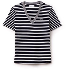 Picture of WOMEN'S RIBBED V NECK STRIPE TEE