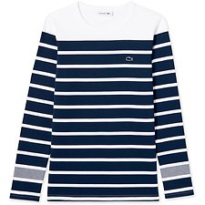 Image of Lacoste WHITE/NAVY BLUE WOMEN'S LONG SLEEVE NAUTICAL STRIPE TEE