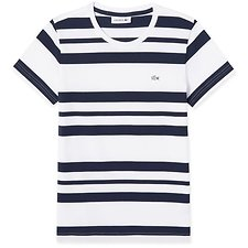 Image of Lacoste WHITE/NAVY BLUE WOMEN'S BLOCK STRIPE TEE
