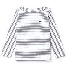 Image of Lacoste FLOUR/INKWELL WOMEN'S LONG SLEEVE STRIPE JERSEY TEE
