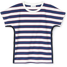 Image of Lacoste FLOUR/INKWELL-IMPERIAL RE WOMEN'S RUGBY STRIPE TEE