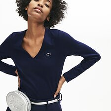 Image of Lacoste NAVY BLUE WOMEN'S LONG SLEEVE V NECK TEE