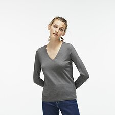 Image of Lacoste STONE WOMEN'S LONG SLEEVE V NECK TEE
