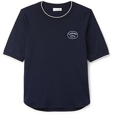 Image of Lacoste NAVY BLUE/FLOUR WOMEN'S BADGE LOGO TEE