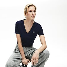 Image of Lacoste NAVY BLUE WOMEN'S BASIC V NECK TEE