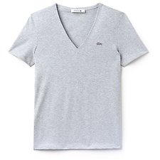 Image of Lacoste SILVER CHINE WOMEN'S BASIC V NECK TEE